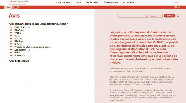 Capture du nouveau site internet de la CRD