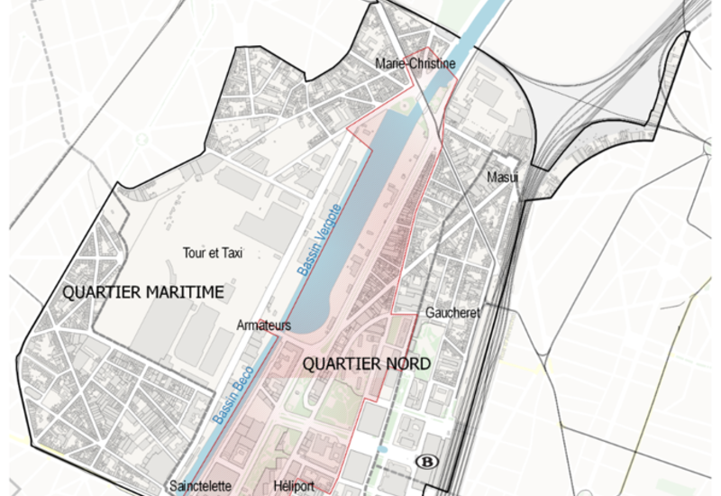Extrait du plan Régional d'Affectation du Sol (PRAS), quartier nord – quartier maritime