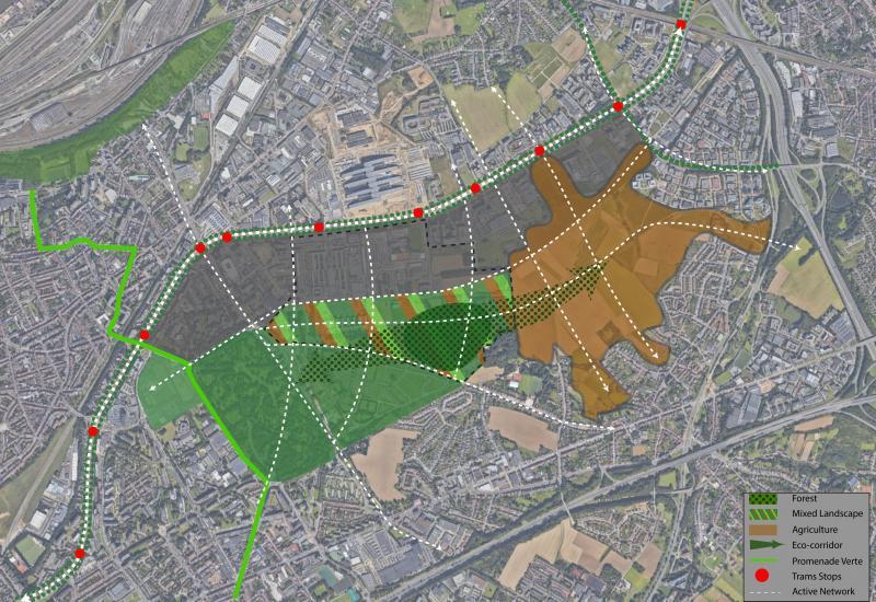 Schéma de principe (indicatif) : un paysage mixte avec au moins 20 ha de forêt comme lien entre les cimetières et Woluweveld, corridor écologique et réseau pour la mobilité active.